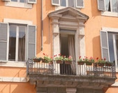 Rome Photography - Italian Architecture Print - Travel Photography - Balcony and Flower Boxes - Peach Wall Art - Rustic Italy Photo