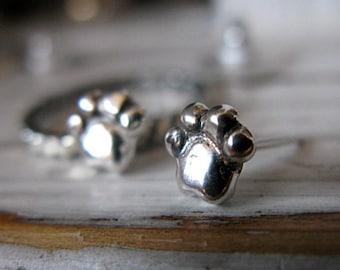 Silver Paw Earrings - Dog Earrings - Silver Studs - Handmade - Artisan - Dog Paw - Dog - Silver Stud Earrings - Silver Post Earrings - Studs