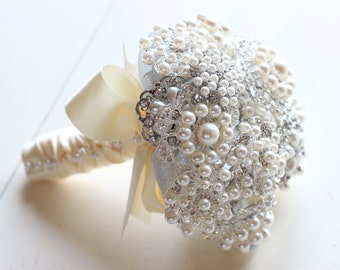 Pearl Crystal Silver Brooch Bouquet SALE In Stock Ready To Ship Worldwide | Made in USA | Wedding Alternative Bouquet Bling Metallic 1000681