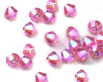 Swarovski Crystal Beads Bicone Pink AB2X 4mm (24)