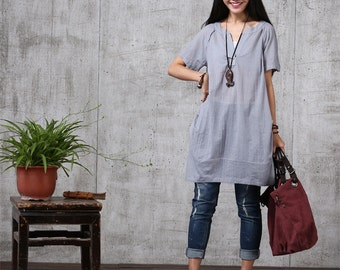 Loose Fitting Soft Cotton Long Shirt Blouse for Women  -(R)  Gray Blue-Short Sleeved Women Clothing