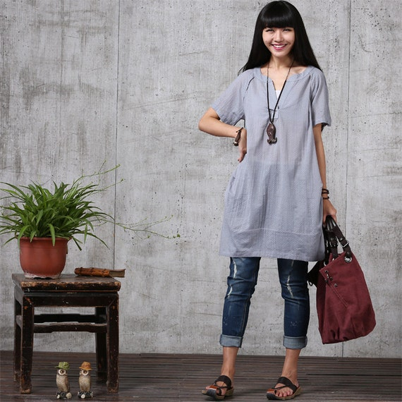 Loose fitting soft cotton long shirt blouse for women r for Soft cotton dress shirts