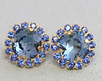 Blue Navy Earrings, Bridal Sapphire Studs, Swarovski, Navy Blue Bridesmaids Earrings, Bridal Blue Navy Stud Earrings, Bridesmaids Gifts