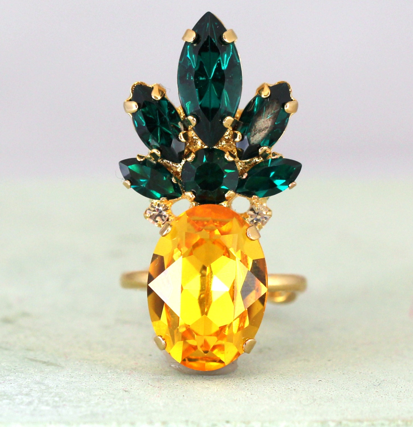 Pineapple Ringswarovski Cocktail Ringyellow Emerald Crystal