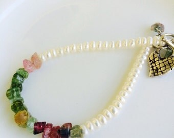 Pearl and Watermelon Tourmaline and Pearl Bracelet / Pearl / Watermelon Tourmaline / Sterling Silver / Statement Piece