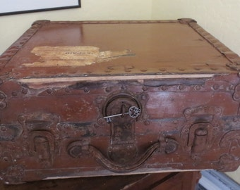 Vintage Small Travel Trunk Wood And Leather with Metal Clasps and Edges