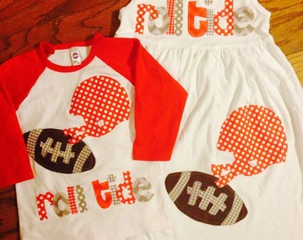 Football Dress and Shirt - Football Applique-  You Choose Your Team Mascot and Colors