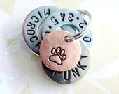 Personalized Small Dog Tag - Small Cat Tag - ID Tag - Hand Stamped with phone number-microchipped-name-paw print-heart