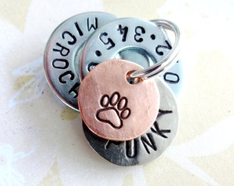 Personalized Small Dog Tag - Pet Tag - Small Cat Tag - ID Tag - Hand Stamped with phone number-microchipped-name-paw print-heart