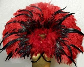 "Red Hot Feather Collar Exotic Brazilian Showgirl 42X30""  Samba Dance Costume NEW"