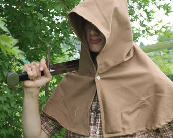 Medieval Hood Light Brown Cotton with Liripipe