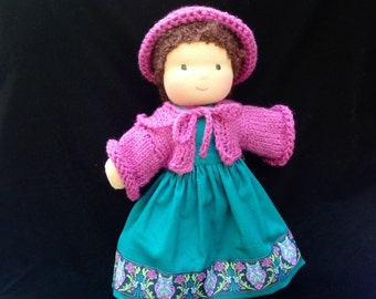 Velour Body Waldorf Doll with Reversible Apron, Sweater and Hat