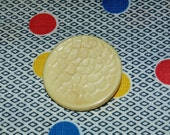 Neat Vintage Celluloid Cream Colored Button with Raised Pattern, 1 5/8 Inch Diameter