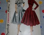 """1950s Vintage Simplicity Pattern 1297 Misses Dress Size 14, Bust 32"""", Hip 35"""", Waist 26"""", Uncut, Factory Folds"""