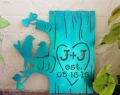 Valentines Metal Initial Anniversary Sign