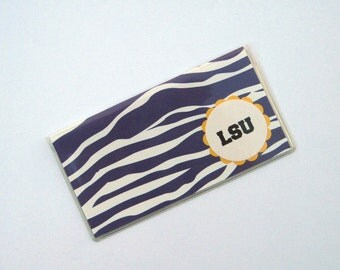 Checkbook Cover in Purple and White Polka Dots