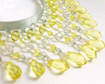 Yellow and Light Gray 3 Inch Straight Medium Beaded Fringe Trim for Wedding or Bridal Deor, Costume, or Home Decorator Beaded Trim