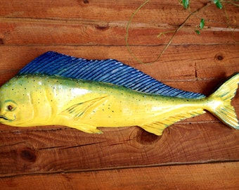 "Dolphinfish 34"" chainsaw wooden taxidermy fish carving nautical home accent art Mahi Mahi indoor/outdoor wall mount man cave fishing sign"