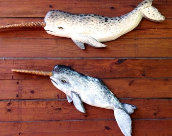 Narwhal set of 2 nautical theme wall mount 4 ft. 3ft. home decor chainsaw carving whale art coastal decor unique originals wood wall art
