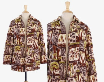 50s TROPICAL Hawaiian Terry Cloth COVER UP / 1950s Novelty Print Towel Swing Beach Swim Jacket