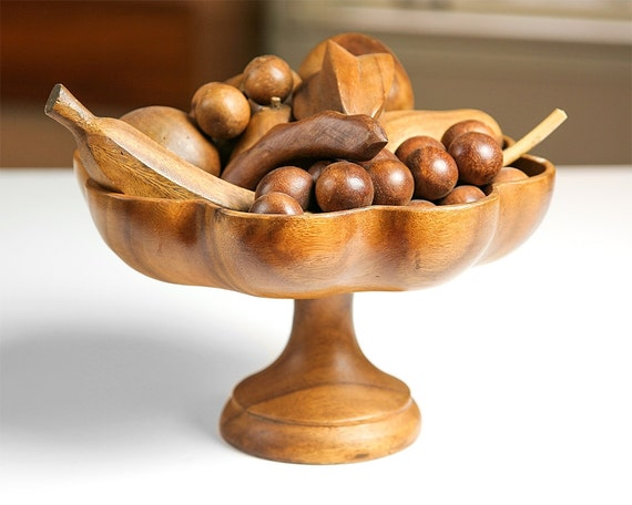 Vintage Mid Century Modern Wooden Fruit Bowl With Wooden Fruit