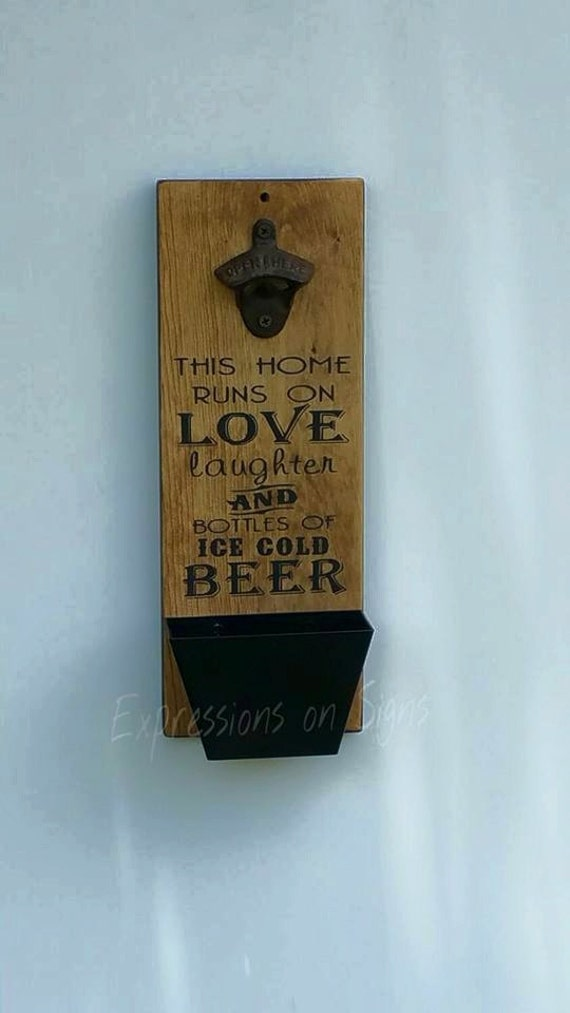 Bottle opener and cap catcher wall mount by expressionsonsigns - Wall mounted bottle opener with cap catcher ...
