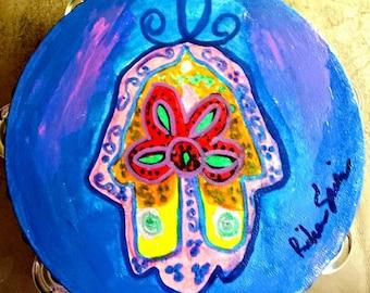 """HAMSA  8"""" inch hand painted Tambourine"""