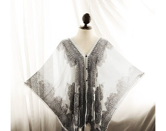 Kaftan Indian Moroccan Caftan Summer Beach White Black Bohemian Paisley Grecian Tribal Poncho Scarf Shawl Cover Up Moroccan Sheer Chiffon