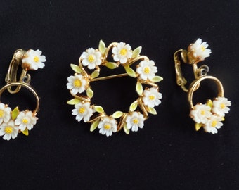 Signed Yellow and White Vintage Brooch and Earring Set, 50's Jewelry Set