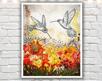 hummingbird art - floral print - mixed media collage - art prints