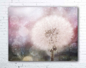 dandelion puff photo - flower photography - mauve floral print - flower print