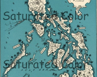 Philippines Map ORIGINAL 1932 Vintage Picture Map Geography - Pictorial Fun Charming Antique Paul Spener Johst Whimsical Manila Cebu Albay