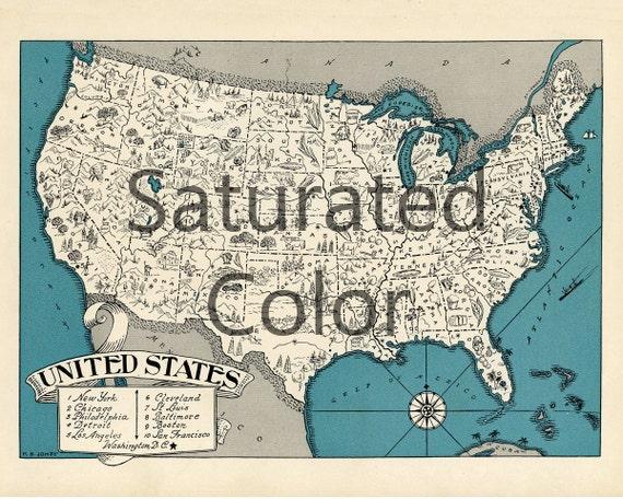 UNITED STATES Map Print Digital Download Vintage U.S