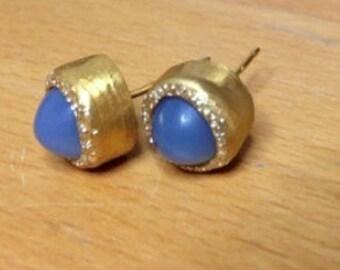 Gold  chalzedony  stud earrings  , Every day earrings , Women earrings
