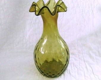 Just reduced.....Vintage glass avacodo green ruffle vase
