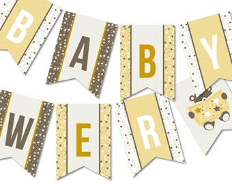 Bunting Banner Flags, Baby Shower Garland, Party Décor // TEDDY READS