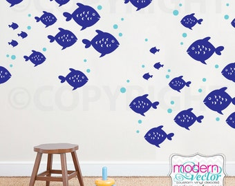 27 Fish Vinyl Wall Decal Ocean Decor Nautical Sea Stickers Bubbles Kids Nursery School of Fish Decal