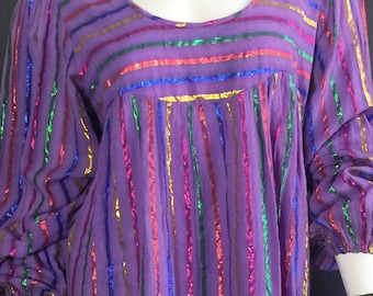 70s metallic cotton gauze india dress balloon sleeve OSFA boho hippie caftan striped ethnic rainbow