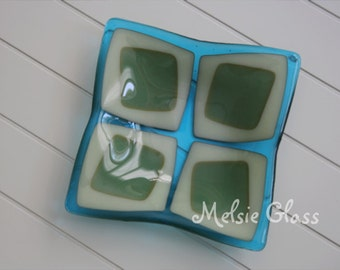 Sea Squares turquoise glass anything dish - turquoise, sea green and cream-colored glass