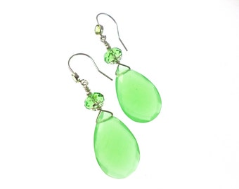 Gemstone Earrings, Chrysoprase Earrings, Artisan Earrings, Briolette Drop Earrings, Statement Earrings, Gemstone Jewelry, Statement Jewelry
