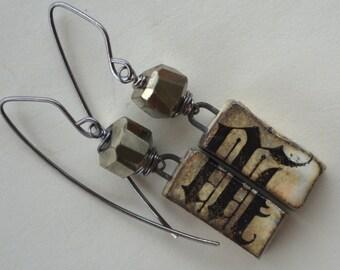 Primitive Block Art Bead and Faceted Pyrite Earrings, Rustic Glam Earrings, Weathered Look Earrings