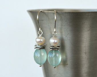 Blue Chalcedony Earrings, Faceted Stone,  White Pearl and Sterling Silver Earrings