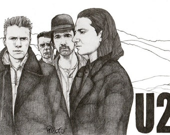 U2 - Drawing, Art, Illustration, Fashion, Portrait, Mix Media Painting by Paul Nelson-Esch Free Worlwide Shipping