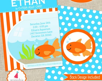 Pool Party Invite Printable | Goldfish Party Invitation | Goldfish Birthday Invite |  | Boys 1st Birthday Invite | Amanda's Parties To Go