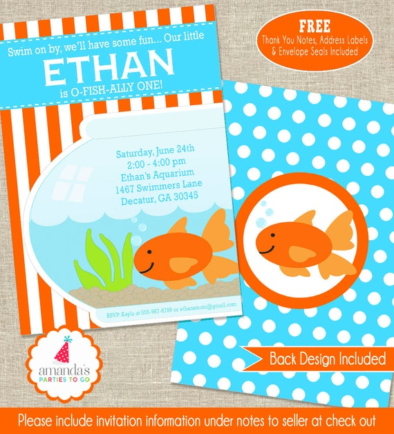 Pool Party Invite Printable Goldfish Party Invitation Goldfish - Goldfish birthday invitation