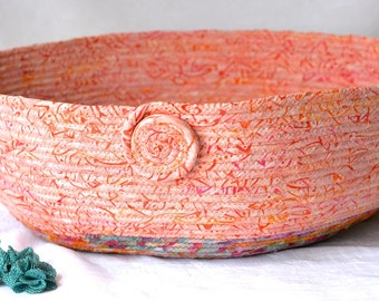 Southwestern Organizer Basket, Handmade Peach Batik Container, Modern Peachy Pet Bed, Coral Batik Cat Bed, Cat Bowl, Pet Bowl, Dog Bowl,