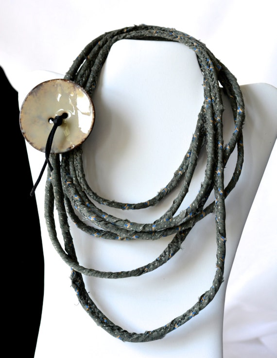 Summer Grey Necklace, Handmade Gray Necklace, Multi Strand Infinity Necklace, Skinny Fashion Necklace, Trendy Fiber Wrap Jewelry