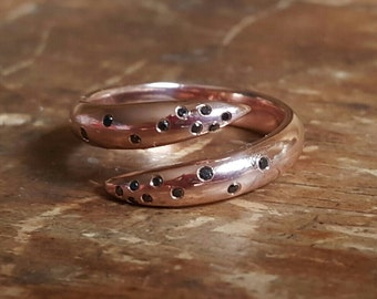 14K Ring Pink Gold Ring Black Diamond Ring Rose Gold Rings Solid 14K Gold Claw Ring Womens Gift Gifts for Her Black Diamonds Statement Ring