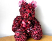 """Hand Knitted Teddy for Collectors - 15"""" Knitted Bear - Red and Black Bear"""