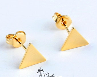 10pcs (5 pairs) 8mm High Quality Golden  plated Brass Triangle Earring Posts With Ear Studs Back Stoppers  NICKEL FREE (EAR-94)